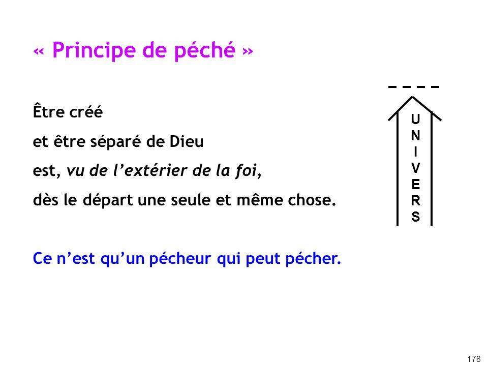 « Principe de péché » Être créé et être séparé de Dieu est, vu de lextérier de la foi, dès le départ une seule et même chose. Ce nest quun pécheur qui