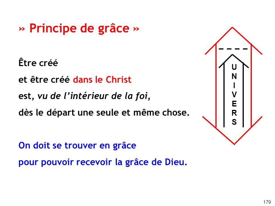 » Principe de grâce » Être créé et être créé dans le Christ est, vu de lintérieur de la foi, dès le départ une seule et même chose. On doit se trouver