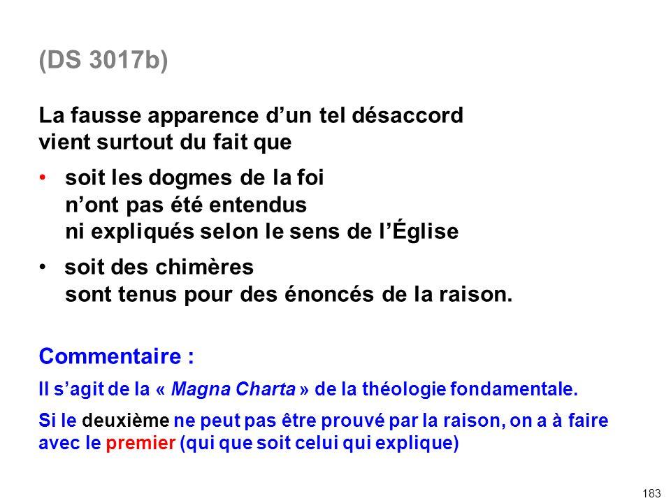(DS 3017b) La fausse apparence dun tel désaccord vient surtout du fait que soit les dogmes de la foi nont pas été entendus ni expliqués selon le sens
