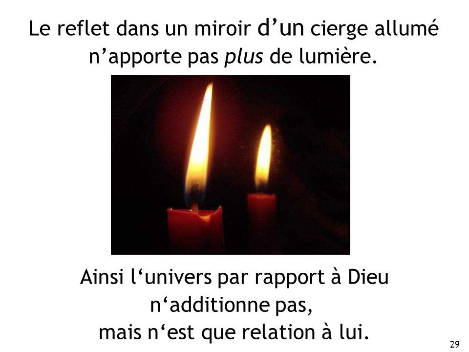 29 Le reflet dans un miroir dun cierge allumé napporte pas plus de lumière. Ainsi lunivers par rapport à Dieu nadditionne pas, mais nest que relation
