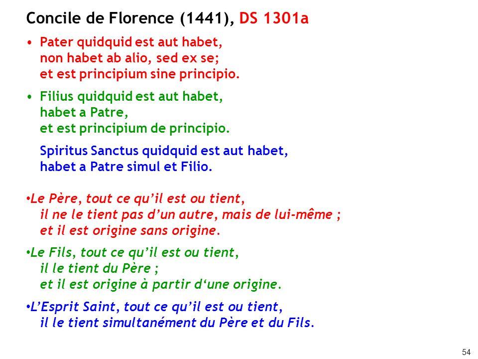 Concile de Florence (1441), DS 1301a Pater quidquid est aut habet, non habet ab alio, sed ex se; et est principium sine principio. Filius quidquid est