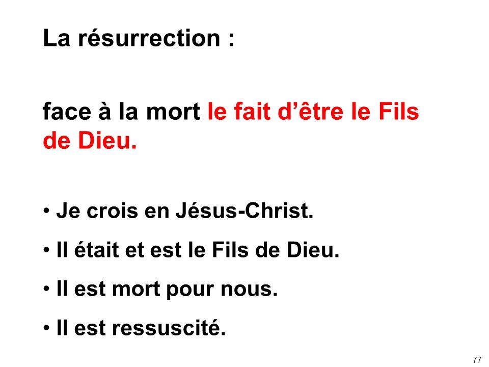 La résurrection : face à la mort le fait dêtre le Fils de Dieu. Je crois en Jésus-Christ. Il était et est le Fils de Dieu. Il est mort pour nous. Il e