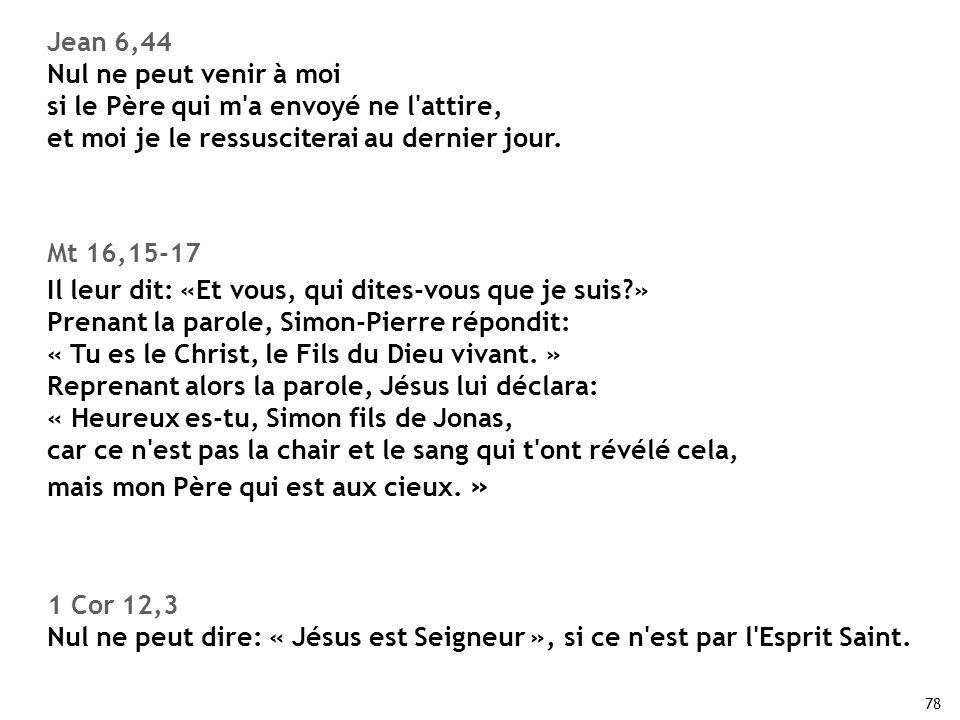 78 Jean 6,44 Nul ne peut venir à moi si le Père qui m'a envoyé ne l'attire, et moi je le ressusciterai au dernier jour. Mt 16,15-17 Il leur dit: «Et v