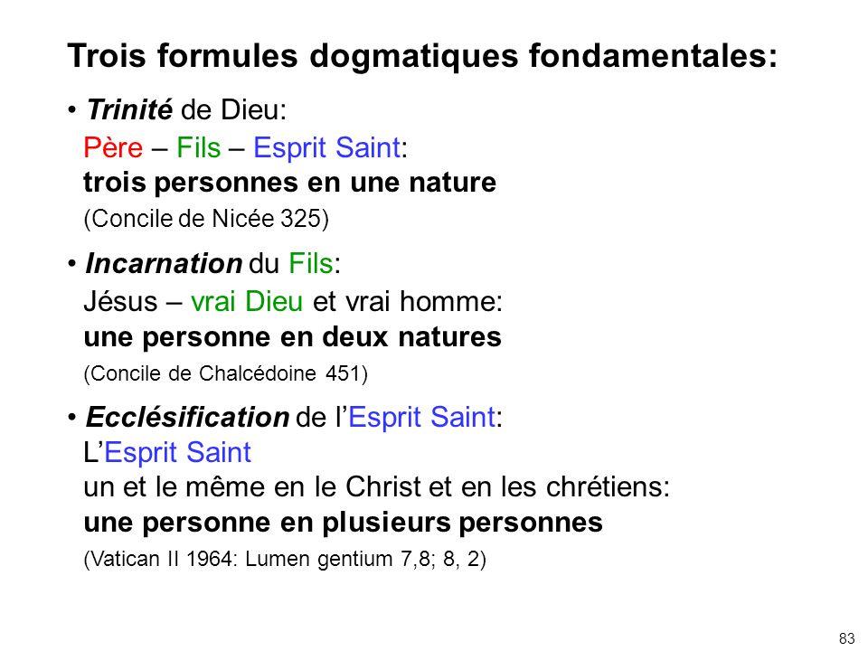 Trois formules dogmatiques fondamentales: Trinité de Dieu: Père – Fils – Esprit Saint: trois personnes en une nature (Concile de Nicée 325) Incarnatio