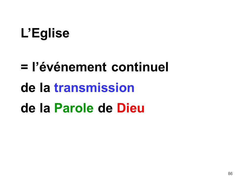 LEglise = lévénement continuel de la transmission de la Parole de Dieu 86