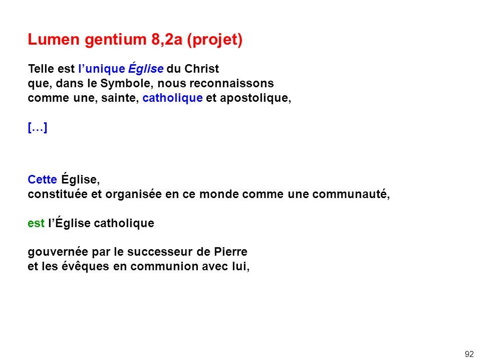 Lumen gentium 8,2a (projet) Telle est lunique Église du Christ que, dans le Symbole, nous reconnaissons comme une, sainte, catholique et apostolique,