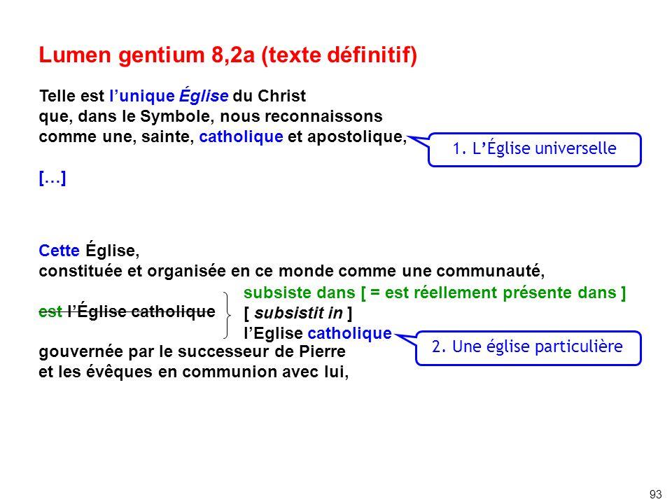 Lumen gentium 8,2a (texte définitif) Telle est lunique Église du Christ que, dans le Symbole, nous reconnaissons comme une, sainte, catholique et apos