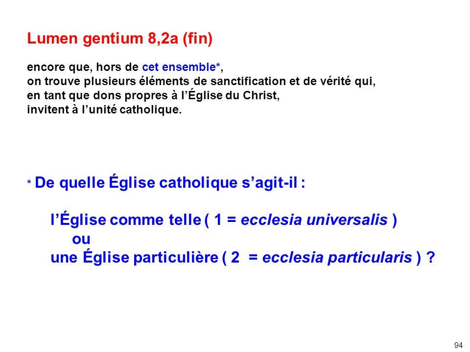 Lumen gentium 8,2a (fin) encore que, hors de cet ensemble*, on trouve plusieurs éléments de sanctification et de vérité qui, en tant que dons propres