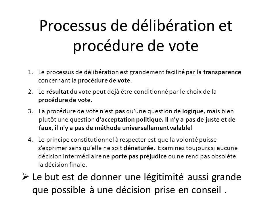 Processus de délibération et procédure de vote 3.