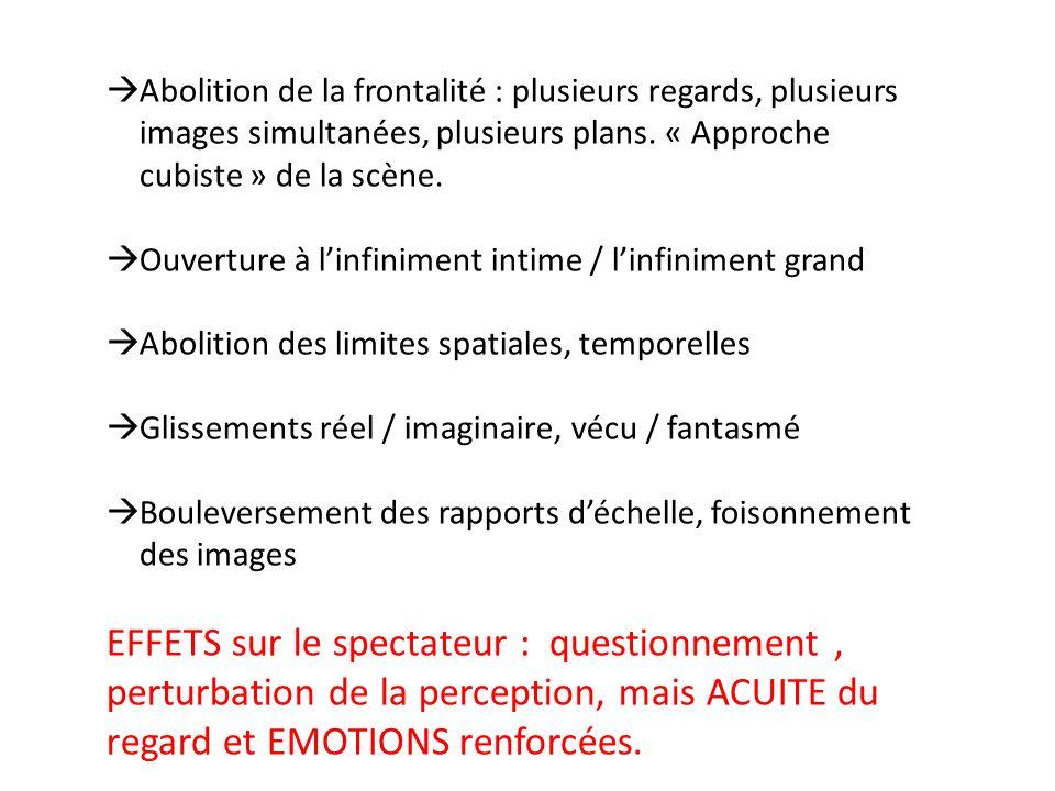 Abolition de la frontalité : plusieurs regards, plusieurs images simultanées, plusieurs plans.