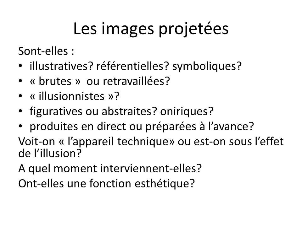 Les images projetées Sont-elles : illustratives? référentielles? symboliques? « brutes » ou retravaillées? « illusionnistes »? figuratives ou abstrait