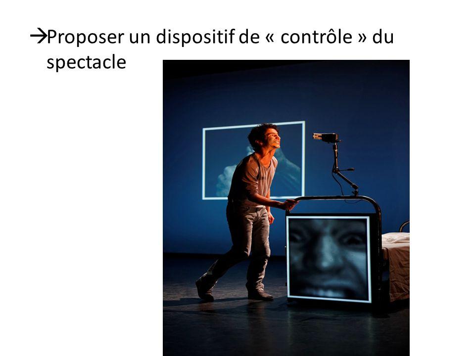 Proposer un dispositif de « contrôle » du spectacle