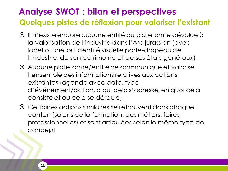 10 Analyse SWOT : bilan et perspectives Quelques pistes de réflexion pour valoriser lexistant Il nexiste encore aucune entité ou plateforme dévolue à