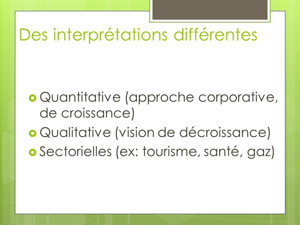 Des interprétations différentes Quantitative (approche corporative, de croissance) Qualitative (vision de décroissance) Sectorielles (ex: tourisme, sa