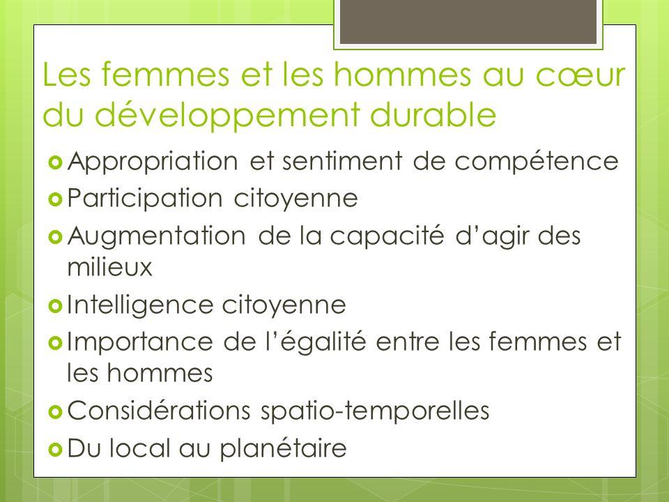 Les femmes et les hommes au cœur du développement durable Appropriation et sentiment de compétence Participation citoyenne Augmentation de la capacité