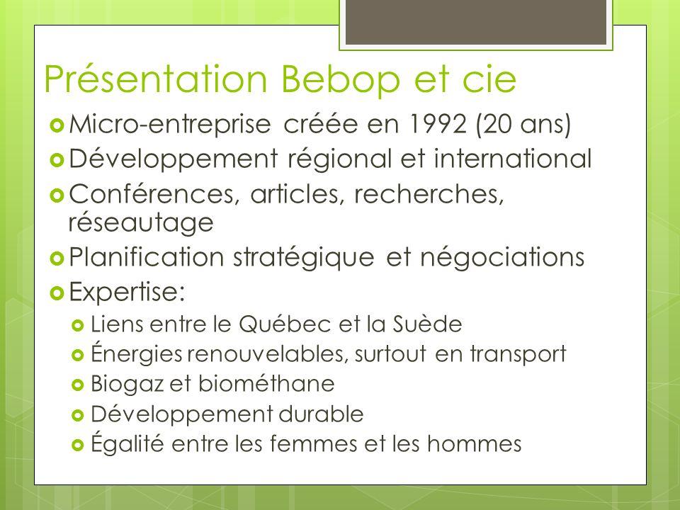 Présentation Bebop et cie Micro-entreprise créée en 1992 (20 ans) Développement régional et international Conférences, articles, recherches, réseautage Planification stratégique et négociations Expertise: Liens entre le Québec et la Suède Énergies renouvelables, surtout en transport Biogaz et biométhane Développement durable Égalité entre les femmes et les hommes