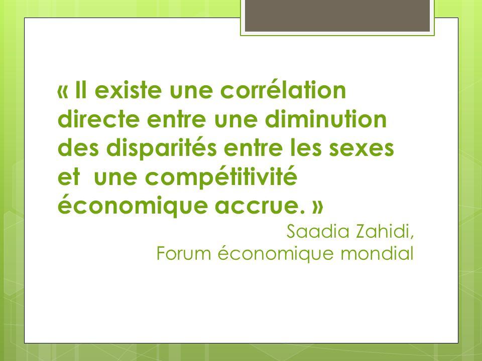 « Il existe une corrélation directe entre une diminution des disparités entre les sexes et une compétitivité économique accrue. » Saadia Zahidi, Forum