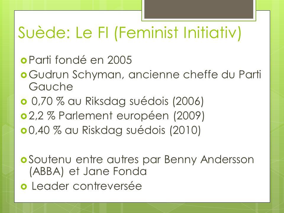 Suède: Le FI (Feminist Initiativ) Parti fondé en 2005 Gudrun Schyman, ancienne cheffe du Parti Gauche 0,70 % au Riksdag suédois (2006) 2,2 % Parlement européen (2009) 0,40 % au Riskdag suédois (2010) Soutenu entre autres par Benny Andersson (ABBA) et Jane Fonda Leader contreversée