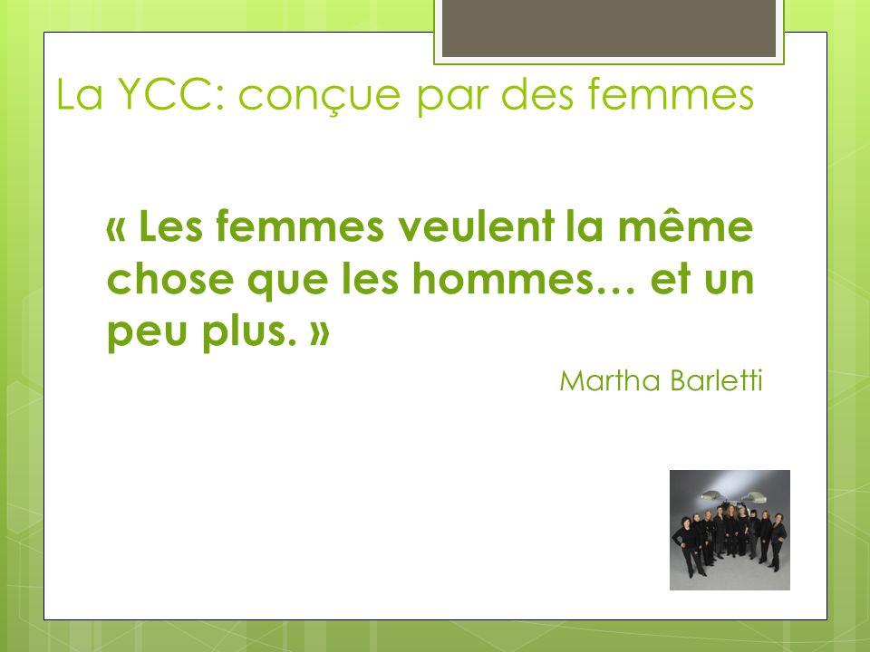 La YCC: conçue par des femmes « Les femmes veulent la même chose que les hommes… et un peu plus. » Martha Barletti
