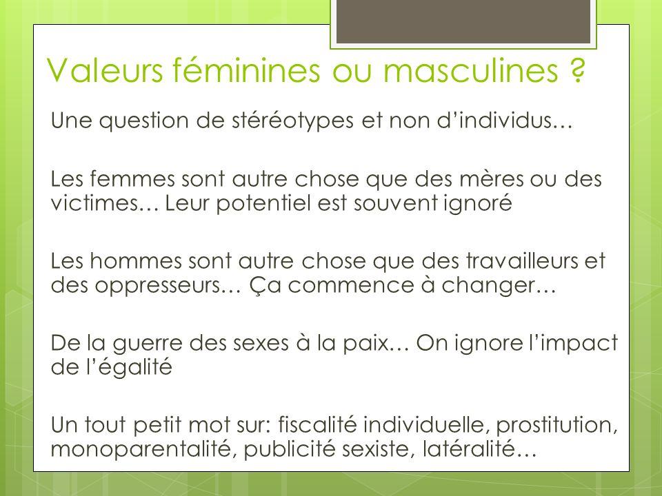 Valeurs féminines ou masculines .