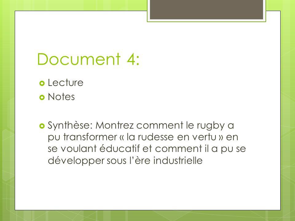 Document 4: Lecture Notes Synthèse: Montrez comment le rugby a pu transformer « la rudesse en vertu » en se voulant éducatif et comment il a pu se développer sous lère industrielle