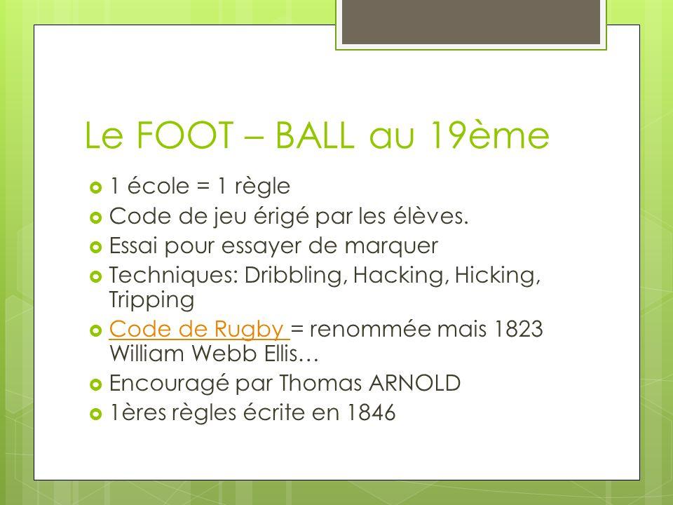 Le FOOT – BALL au 19ème 1 école = 1 règle Code de jeu érigé par les élèves.
