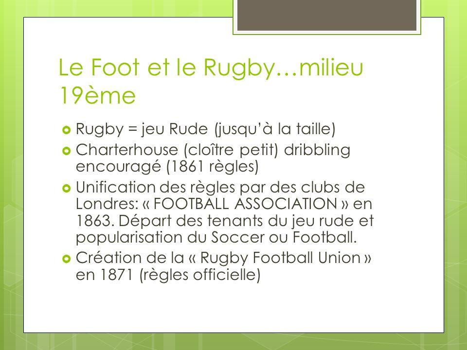 Le Foot et le Rugby…milieu 19ème Rugby = jeu Rude (jusquà la taille) Charterhouse (cloître petit) dribbling encouragé (1861 règles) Unification des règles par des clubs de Londres: « FOOTBALL ASSOCIATION » en 1863.