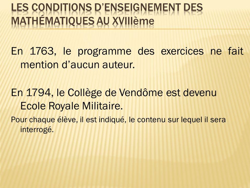 En 1763, le programme des exercices ne fait mention daucun auteur.