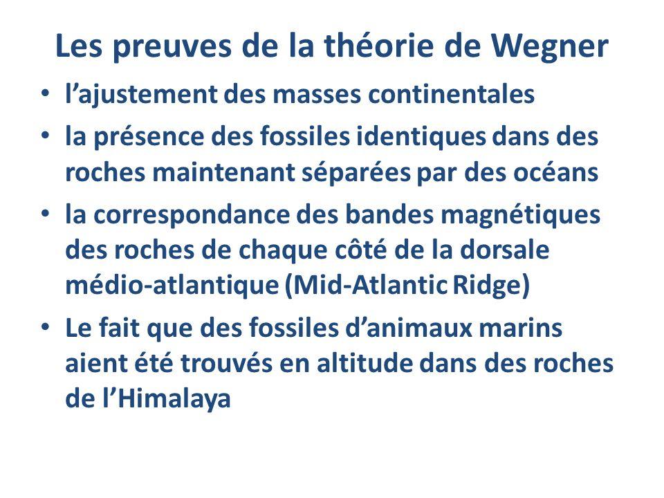 Les preuves de la théorie de Wegner lajustement des masses continentales la présence des fossiles identiques dans des roches maintenant séparées par d