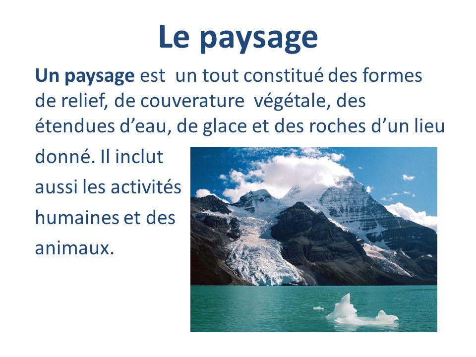Le paysage Un paysage est un tout constitué des formes de relief, de couverature végétale, des étendues deau, de glace et des roches dun lieu donné. I