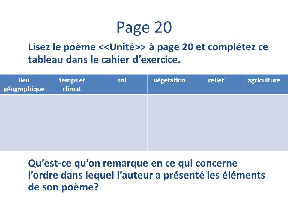 Page 20 Lisez le poème > à page 20 et complétez ce tableau dans le cahier dexercice. Quest-ce quon remarque en ce qui concerne lordre dans lequel laut
