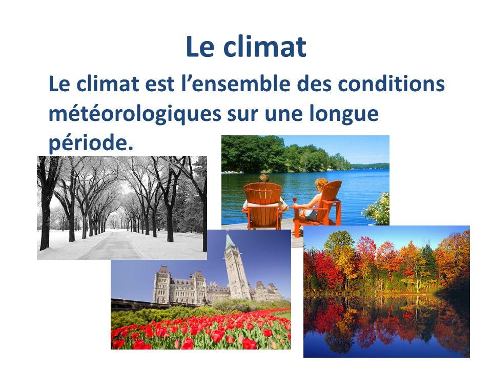 Le climat Le climat est lensemble des conditions météorologiques sur une longue période.