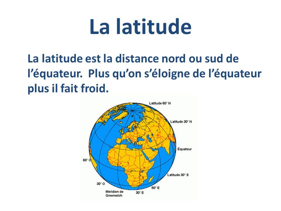 La latitude La latitude est la distance nord ou sud de léquateur. Plus quon séloigne de léquateur plus il fait froid.