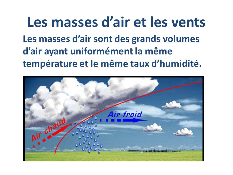 Les masses dair et les vents Les masses dair sont des grands volumes dair ayant uniformément la même température et le même taux dhumidité.