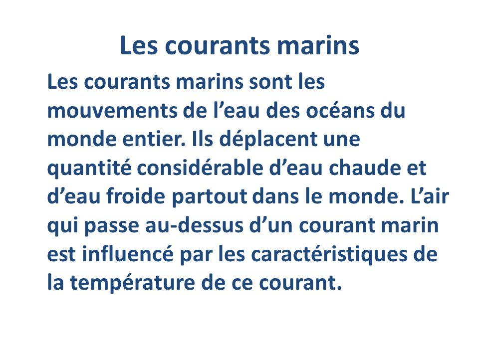 Les courants marins Les courants marins sont les mouvements de leau des océans du monde entier. Ils déplacent une quantité considérable deau chaude et