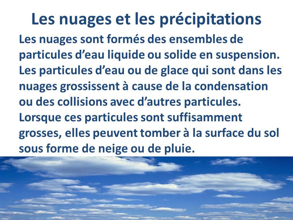 Les nuages et les précipitations Les nuages sont formés des ensembles de particules deau liquide ou solide en suspension. Les particules deau ou de gl