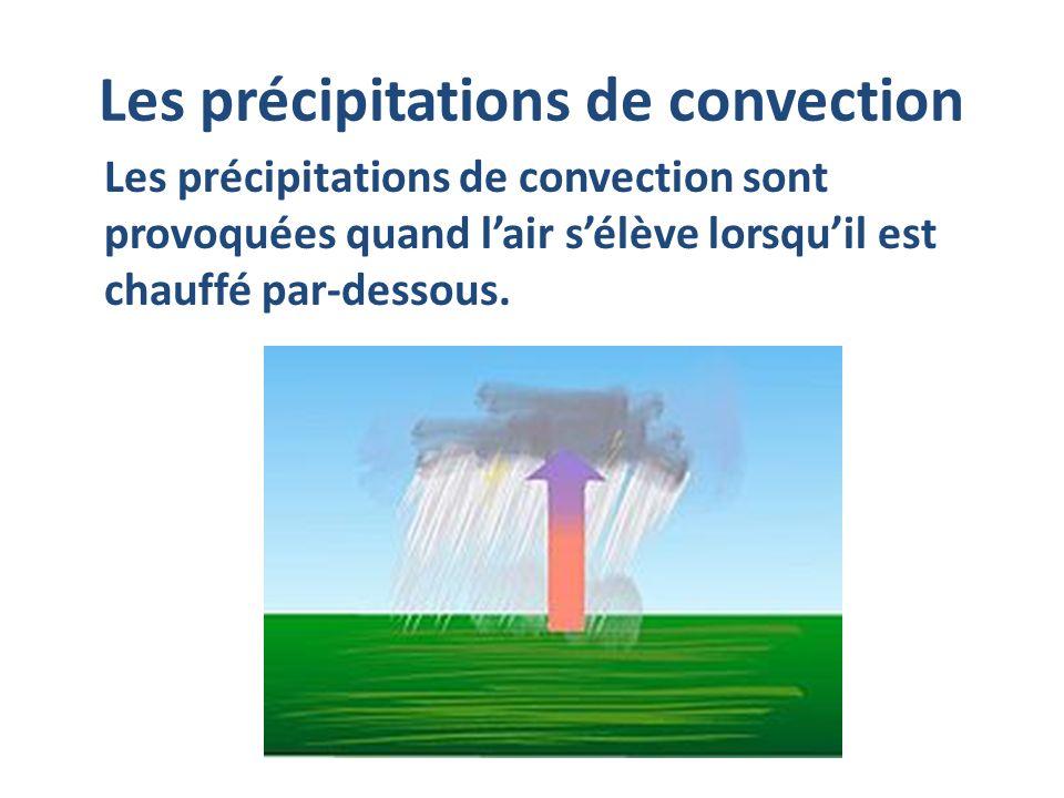 Les précipitations de convection Les précipitations de convection sont provoquées quand lair sélève lorsquil est chauffé par-dessous.