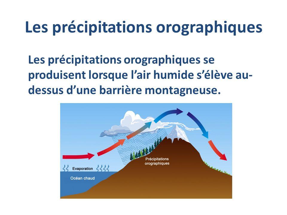 Les précipitations orographiques Les précipitations orographiques se produisent lorsque lair humide sélève au- dessus dune barrière montagneuse.