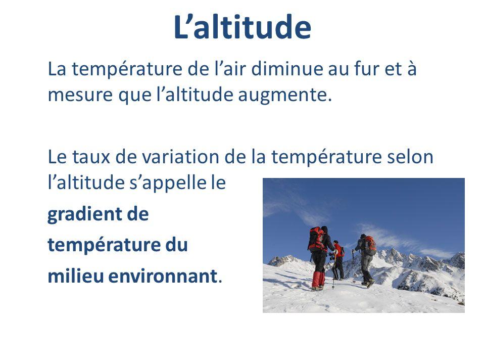 Laltitude La température de lair diminue au fur et à mesure que laltitude augmente. Le taux de variation de la température selon laltitude sappelle le