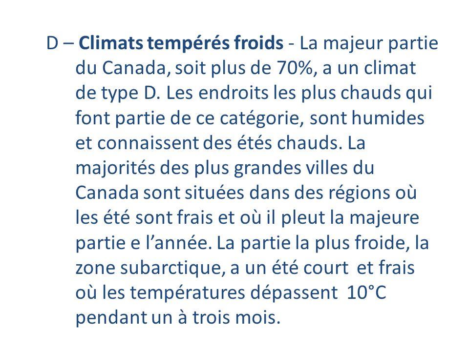 D – Climats tempérés froids - La majeur partie du Canada, soit plus de 70%, a un climat de type D. Les endroits les plus chauds qui font partie de ce