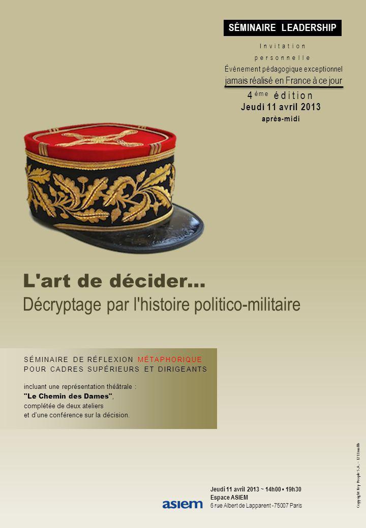 Copyright Key People S.A. – 1211mallb L'art de décider… Décryptage par l'histoire politico-militaire Invitation personnelle Événement pédagogique exce