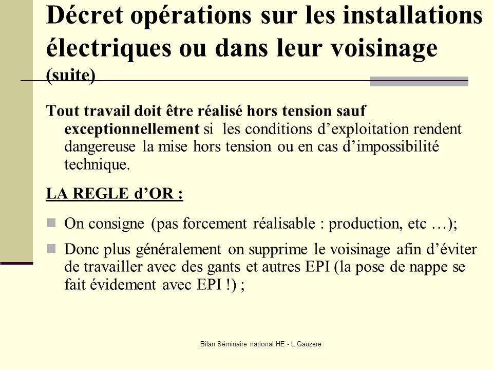 Bilan Séminaire national HE - L Gauzere Décret opérations sur les installations électriques ou dans leur voisinage (suite) Tout travail doit être réal