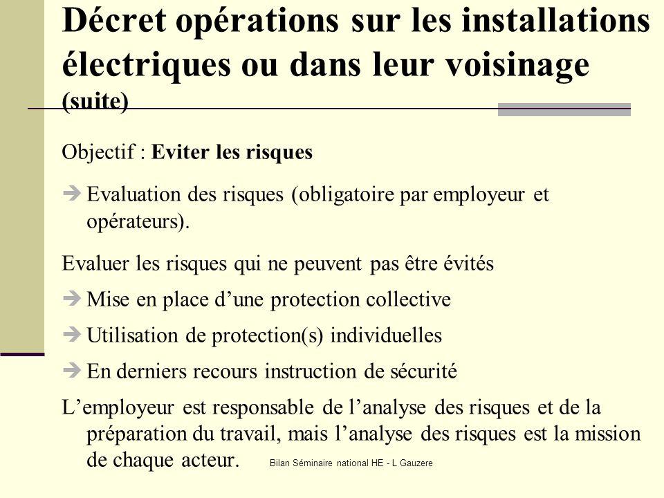 Bilan Séminaire national HE - L Gauzere Décret opérations sur les installations électriques ou dans leur voisinage (suite) Objectif : Eviter les risqu