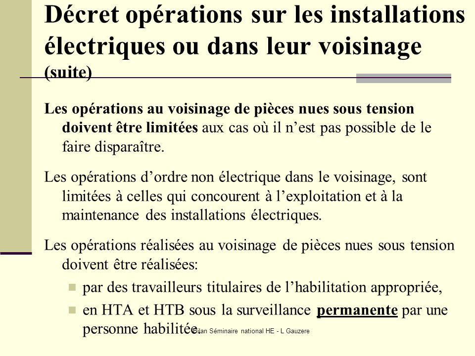 Bilan Séminaire national HE - L Gauzere Décret opérations sur les installations électriques ou dans leur voisinage (suite) Les opérations au voisinage