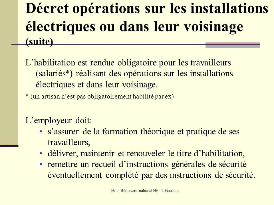 Bilan Séminaire national HE - L Gauzere Décret opérations sur les installations électriques ou dans leur voisinage (suite) Lhabilitation est rendue ob