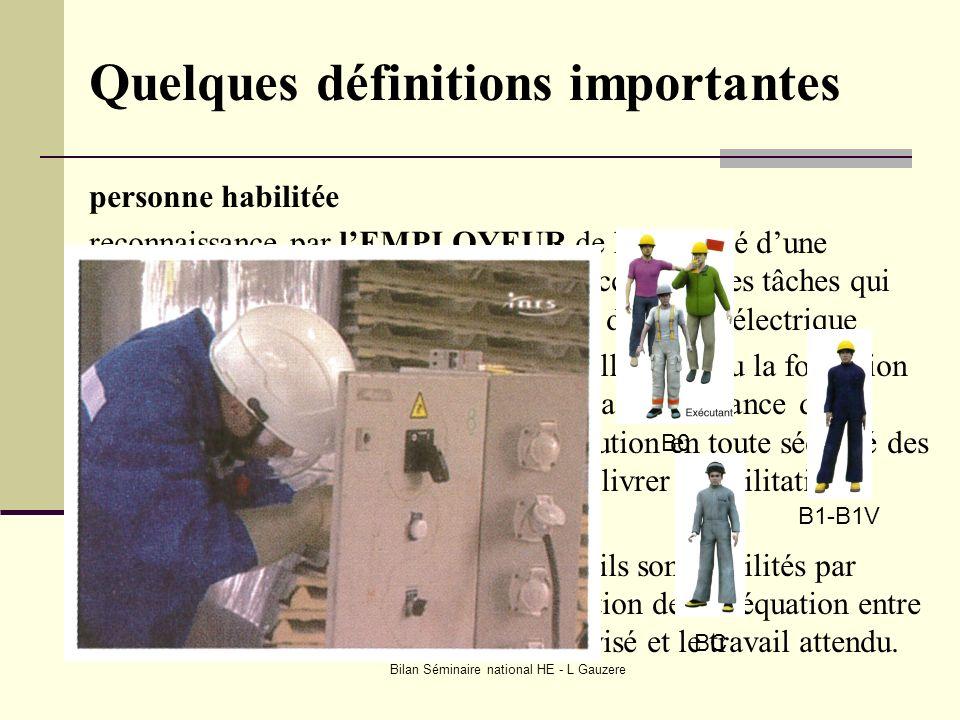 Bilan Séminaire national HE - L Gauzere Quelques définitions importantes personne habilitée reconnaissance par lEMPLOYEUR de la capacité dune personne