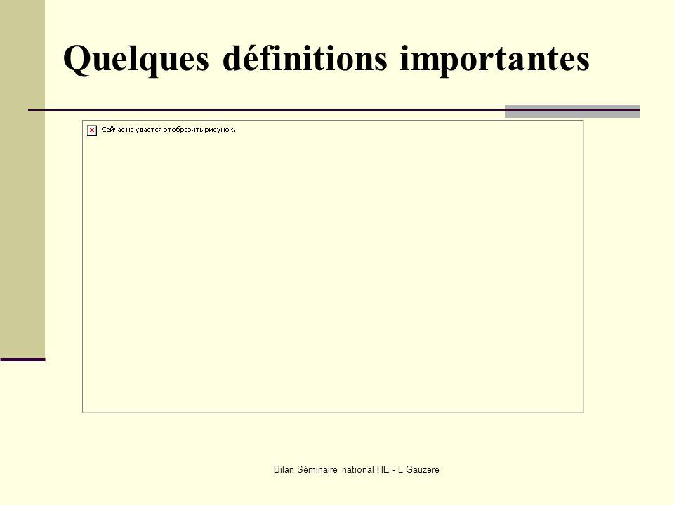 Bilan Séminaire national HE - L Gauzere Quelques définitions importantes