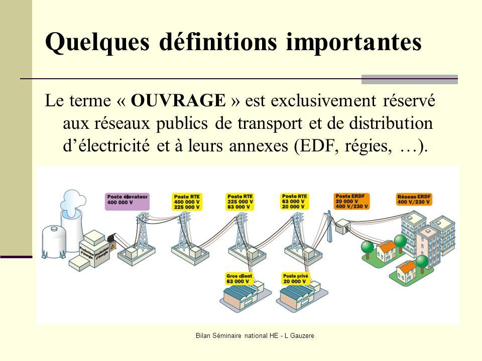 Bilan Séminaire national HE - L Gauzere Quelques définitions importantes Le terme « OUVRAGE » est exclusivement réservé aux réseaux publics de transpo