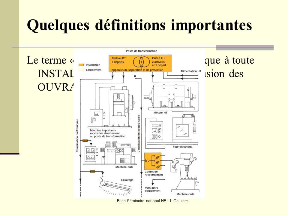 Bilan Séminaire national HE - L Gauzere Quelques définitions importantes Le terme « INSTALLATION » sapplique à toute INSTALLATION électrique à lexclus