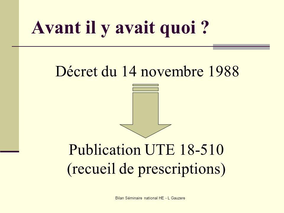 Bilan Séminaire national HE - L Gauzere Avant il y avait quoi ? Décret du 14 novembre 1988 Publication UTE 18-510 (recueil de prescriptions)
